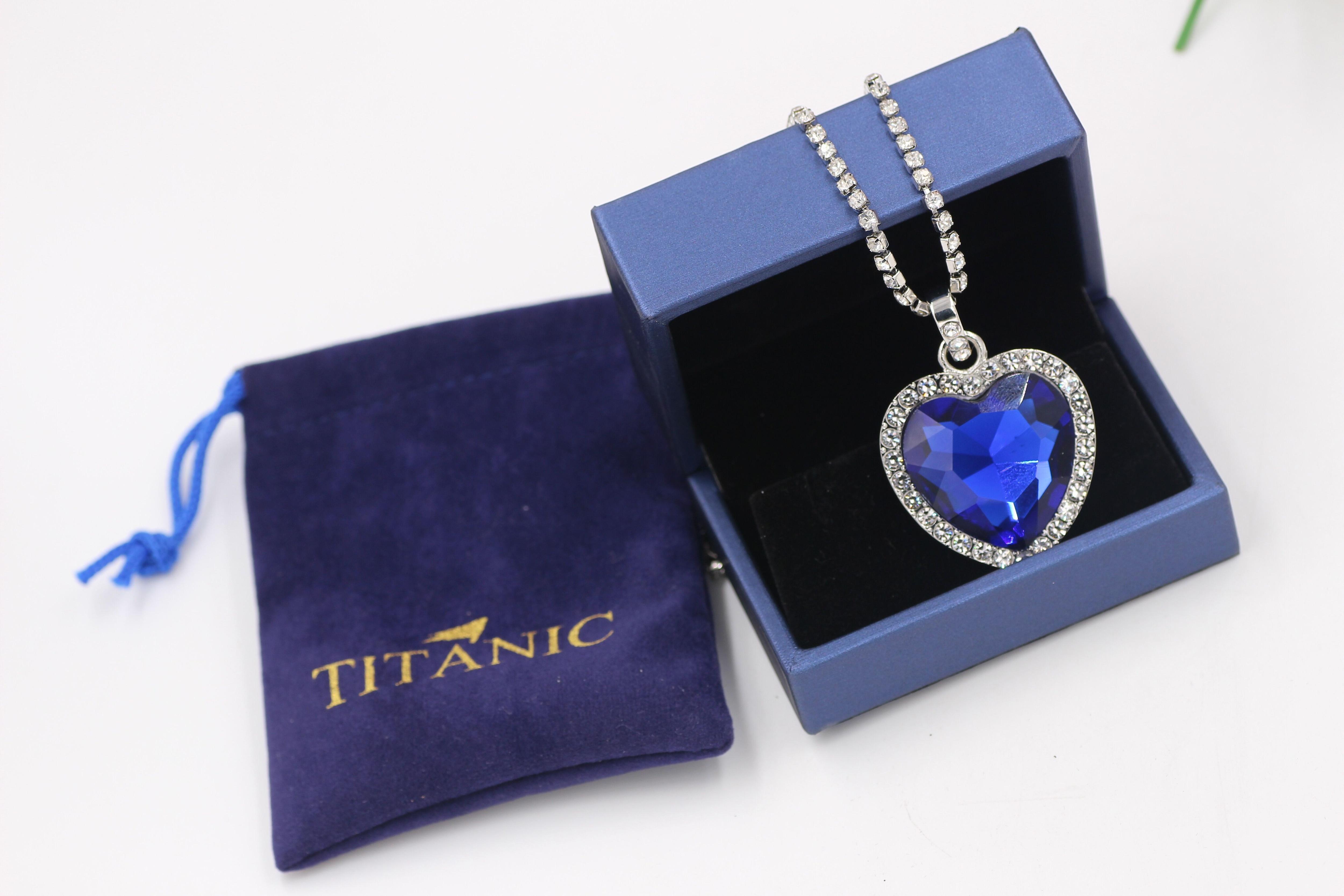 Titanic Heart of Ocean blue heart love forever pendant Necklace + velvet bag 2