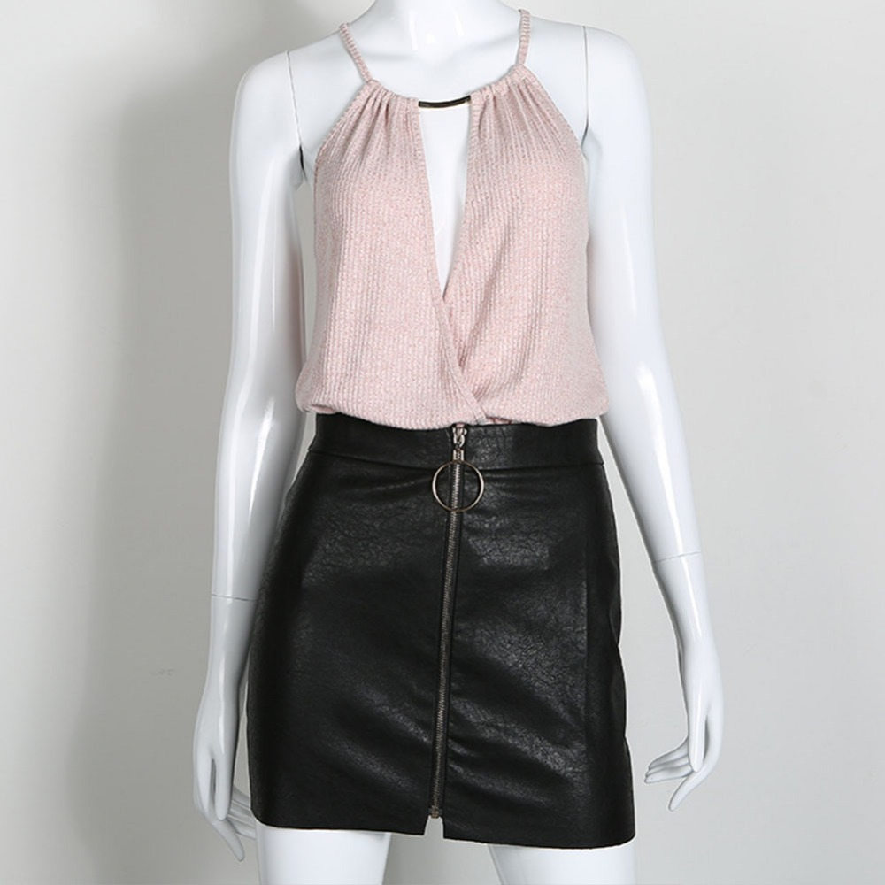 Women PU Leather Skirts Women Sexy Short Black High Waist O Ring Zipper Design Pencil Skirt NEW!