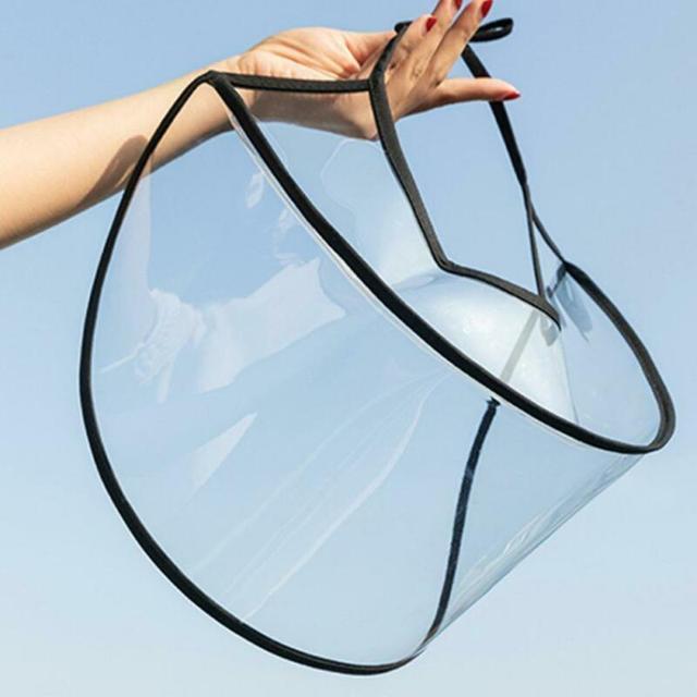 1pcs Clear Full Face Shield Hat-Mounted Transparent Mask Protective Cap Face Mask Plastic Anti-fog Saliva 2