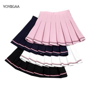 Elastic Waist Women Pleated Skirts Summer Striped Stitching Female Mini Skirt Sweet Cute Ladies  Girls Dance Skirts Sailor Skirt abstract striped pleated skirt