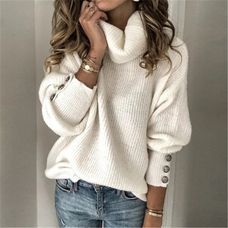 Autumn Winter Solid Turtleneck Sweaters Casual Long Sleeve Knitted Sweaters Pullovers Vintage Womens Button Loose Sweater Tops