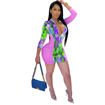 Tie Dye Print Body Playsuit Women Sexy Sheer Mesh Patchwork ZipperLong Sleeve Biker Shorts Bodycon Club Rompers Womens Jumpsuit summer women party neon green leopard print sexy playsuit holiday mesh rompers club short sleeve bodycon jumpsuit