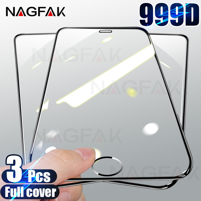 3Pcs 999D Tempered Glass For iPhone 7 8 6 6S Plus 11 SE 2020 Screen Protector For iPhone 11 12 Pro Max X XS XR Protective Glass