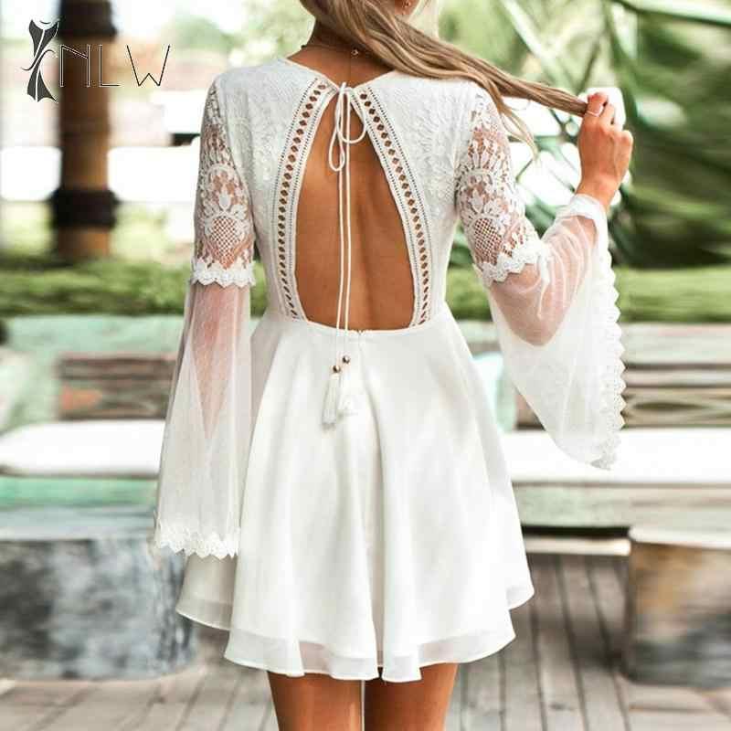 NLW élégante dentelle blanche dos nu robe automne hiver femmes manches cloche courte Mini robes de soirée évider robe en maille Vestidos
