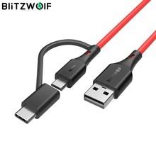 BlitzWolf BW-MT3 Type C Micro USB 5V 3A 2 en 1 câble de données de charge rapide pour Samsung Galaxy S10 9 pour Huawei Mate 20 Pro 3ft 6ft
