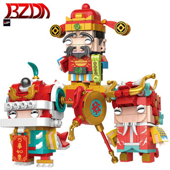 BZDA New Year's God of Wealth Theme Series Small Particles Technical Model Building Blocks Boy Assembled Toys Children DIY Gifts image