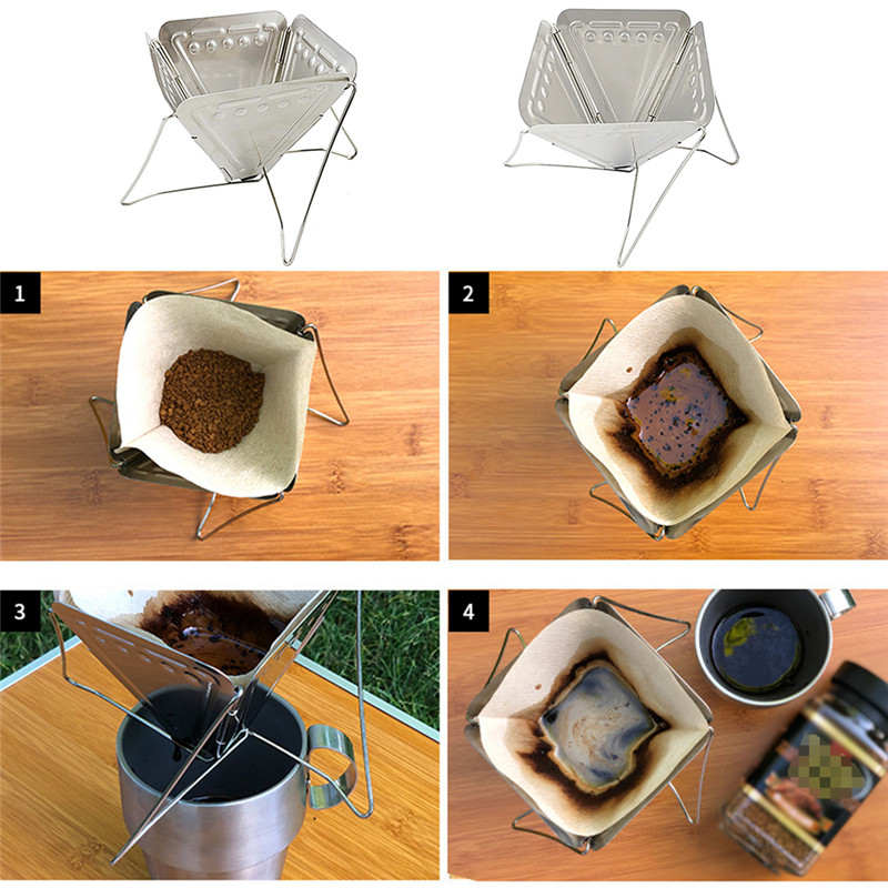 2020 New Coffee Dripper Outdoor Camping Folding Portable Coffee Drip Rack Foldable Coffee Maker Stainless Steel Coffee Filter