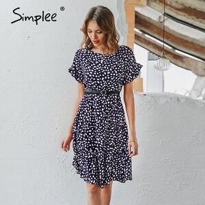 Image 3 - Simplee Sexy polka dot kobiety sukienka przyczynowy o neck luźna lamparta druku letnia sukienka na co dzień z krótkim rękawem wzburzyć wakacje plaża sukienka