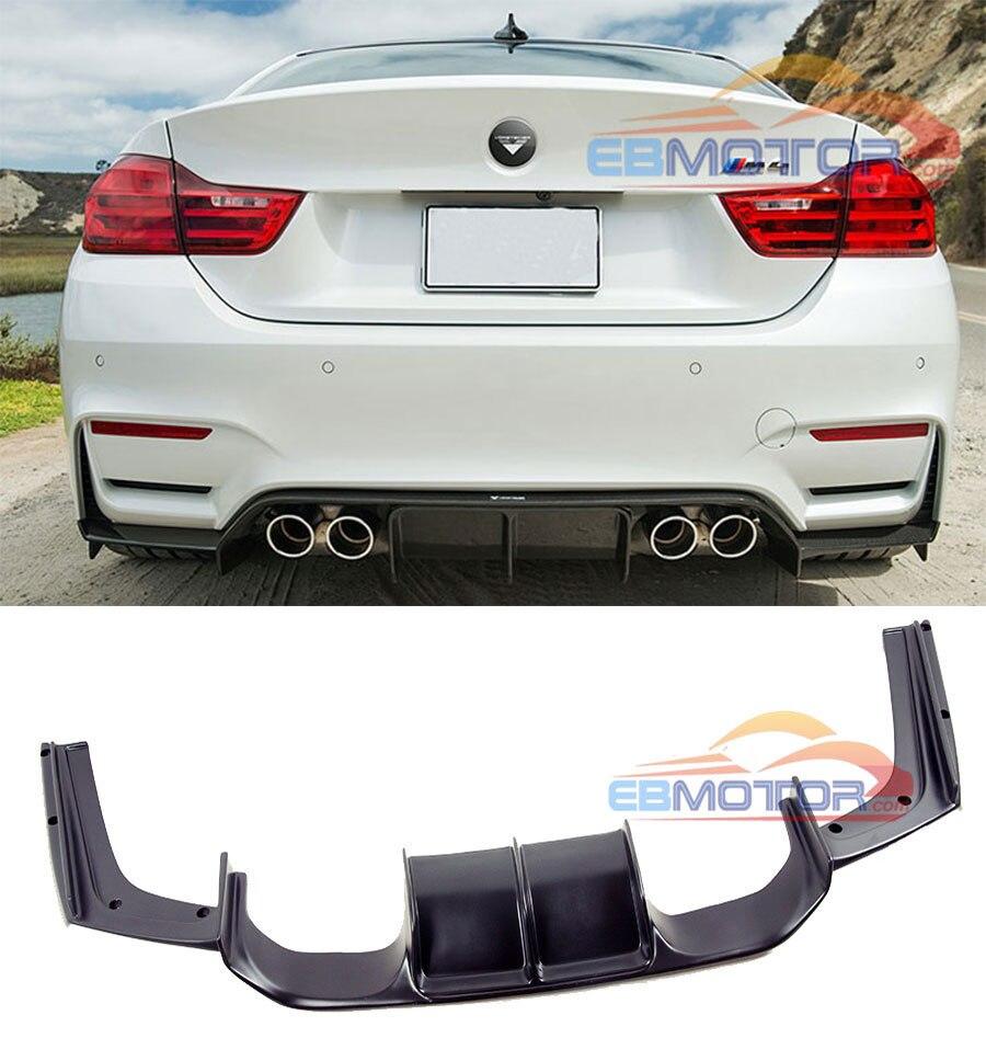 UNPAINTED V สไตล์ Diffuser ด้านหลังสำหรับ BMW F8X F80 F82 M3 M4 2014UP B255F