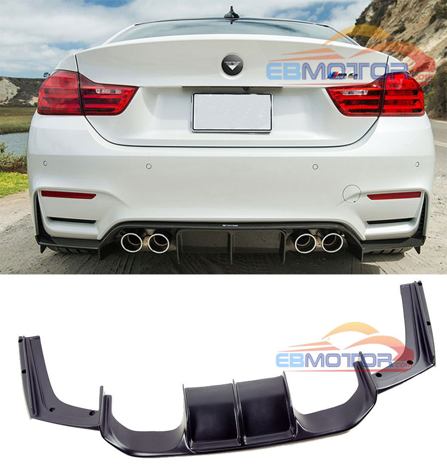 UNPAINTED V Style Rear Diffuser For BMW F8X F80 F82 M3 M4 2014UP B255F image