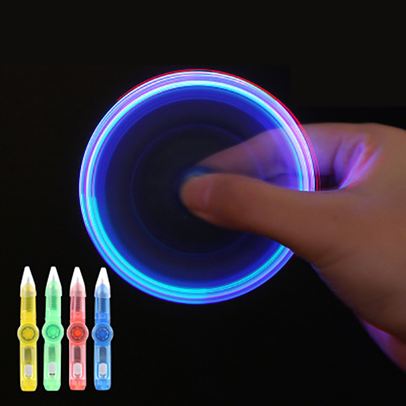 Multi-function Shiny Luminous Ball-point Pen  Children's Creative Toys  Spinning Gyro Learning Decompression LED Colorful Lights