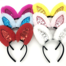New Fashion Cute Children Sequined Rabbit Ears Headband Funny Plush Hair Band For Festival Soft Lovely Hairband
