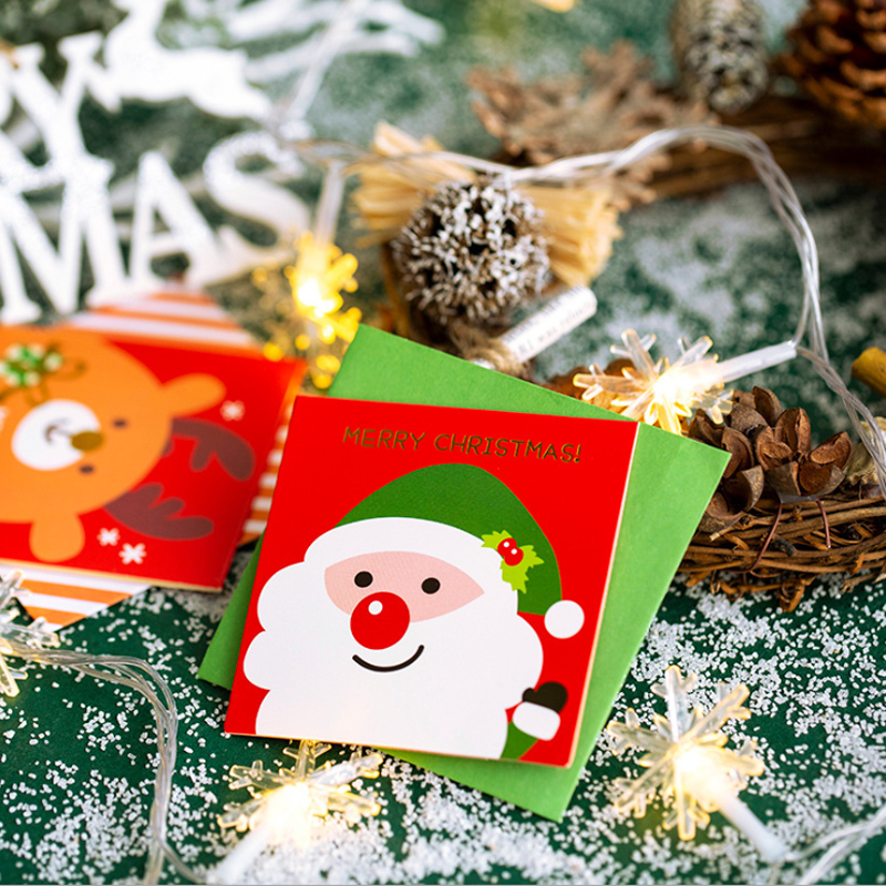 5Pcs/lot Kawaii Christmas Series Cartoon Folded With Envelope Postcard Greeting Card Birthday Card New Year Gift Cards