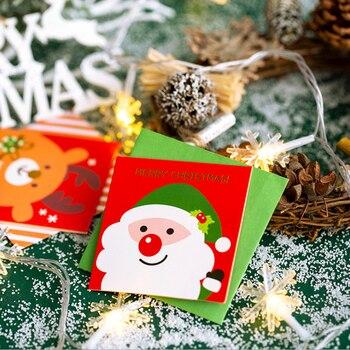 цена на 5Pcs/lot Kawaii Christmas series cartoon Folded with envelope Postcard Greeting Card Birthday Card New Year Gift Cards