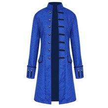 Gentlemen Men Trench Coat Steampunk Jackets Medieval Costume Men Long Sleeve Gothic Brocade Jacket Frock Vintage Stand Collar