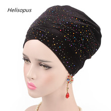 Helisopus 새로운 다채로운 드릴 이슬람 여분의 긴 머리 스카프 넥타이 여성 별이 빛나는 벨벳 Turban 인도 헤어 액세서리 여성 Headwraps