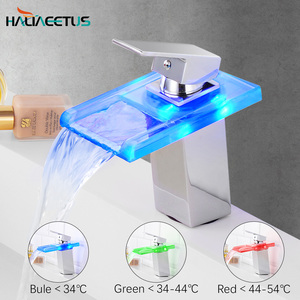 LED Light Glass Waterfall Basin Faucet for Bathroom.Torneira Led.Chrome Finished Colorful Deck Mounted Sink Mixer Tap.(China)