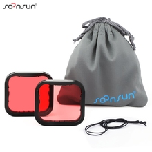 SOONSUN 2 Pack Filters Kit Red Snorkel Lens Dive Filter for GoPro HERO 7 6 5 Black Super Suit Housing Case Go Pro 7 Accessories