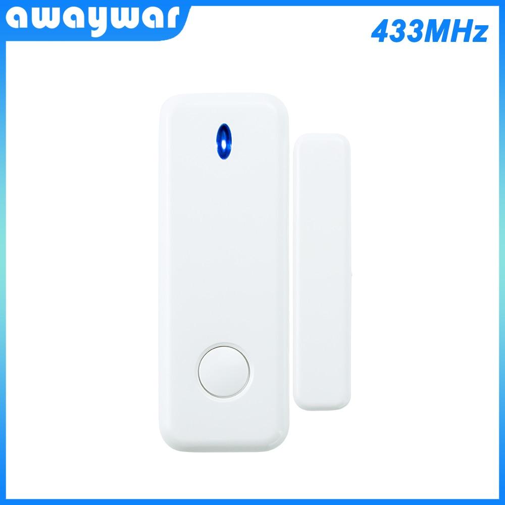 Awaywar czujnik do okien drzwi 433MHz bezprzewodowy przełącznik magnetyczny kontakt detektor sygnalizacja dla intruza System alarmowy do domu