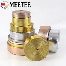 Meetee 5m 5-30mm de largura de couro sintético do plutônio fita de prata de ouro saco cabos diy roupas jóias decoração arcos banda colar material
