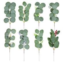 5 pièces feuilles d'eucalyptus artificielles Branches feuilles vertes fleurs pour décoration de mariage bricolage mariée Bouquet faux Bouquet Floral plante