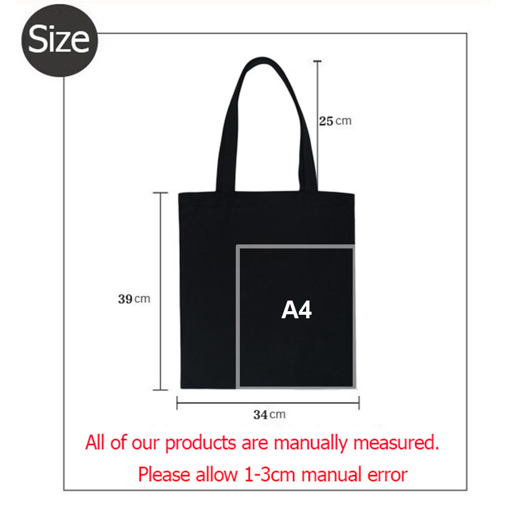 Russian Letter Reusable Shopping Bag Canvas Tote Bag with Inscriptions Black Foldable Bag Student Book Bag Eco Shoulder Bags