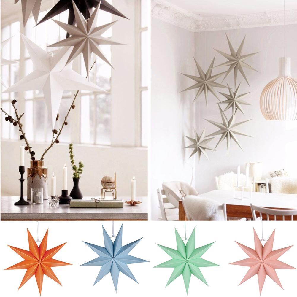 30cm Nine-pointed Durable Star Paper Lovely Hanging Decoration For Kids Room Party Classroom Ornament Crafts Decor