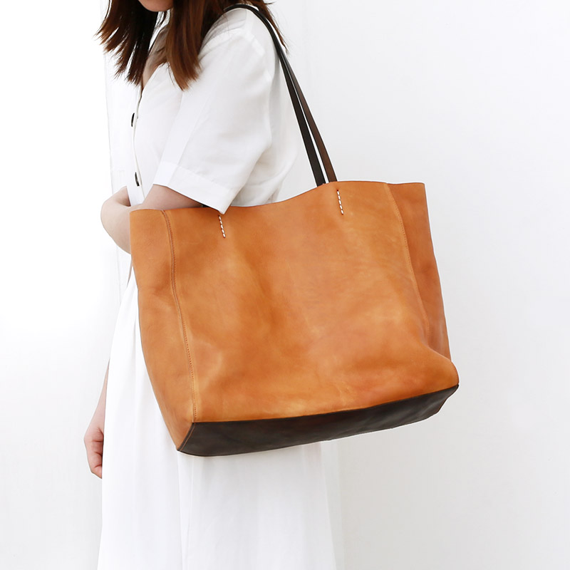2020 new original retro soft leather women handbag laptop tote bag shoulder large bag simple leather large capacity women's bag