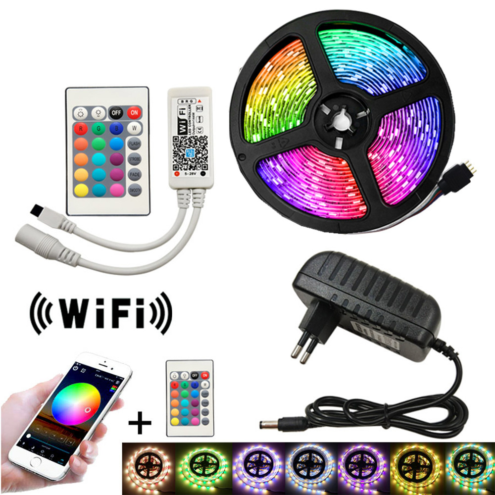12v Led Strip 5M/roll SMD 5050 RGB Tape Light Waterproof Neon Strips Party Decoration Light For Living Room Bar Lamp WIFI Ribbon