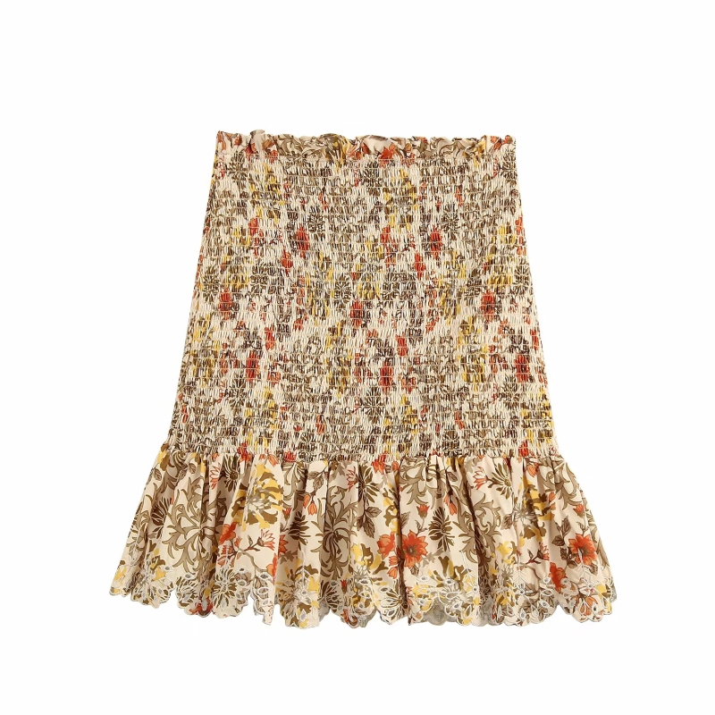 Women Floral Print Shrink Fold Mini Skirt Faldas Mujer Ladies High Waist Hem Embroidery Ruffles Chic Vestidos Slim Skirts QUN595