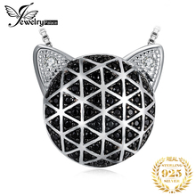 JewelryPalace Genuine Black Spinel Cubic Zirconia Cat Face Pendant Without Chain 925 Sterling Silver Pendants Necklaces Without jewelrypalace authentic 925 sterling silver pendants necklace crown wings honey bee pendant without chain cubic zirconia jewelry