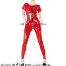 Красный сексуальный латексный костюм кошки с молнией спереди