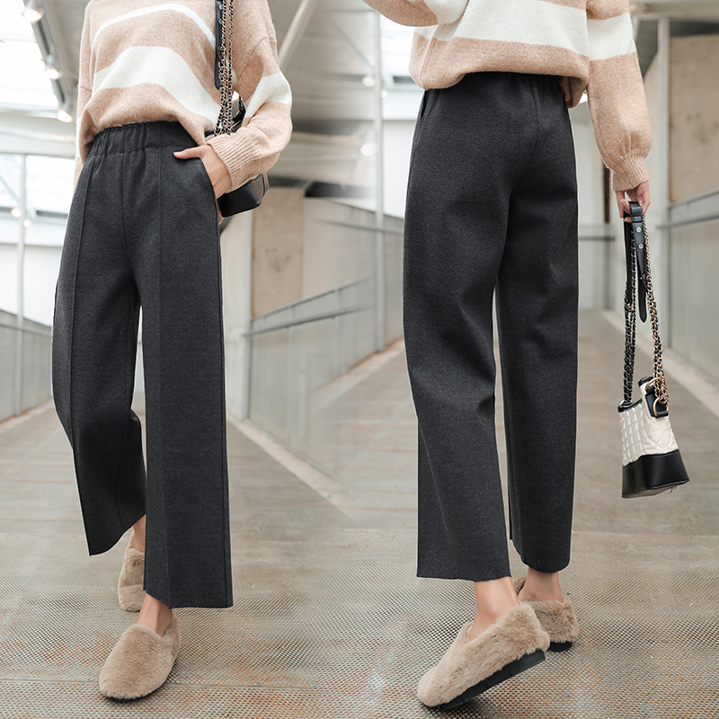 Autumn Winter Women   Pants   Fashion Loose Ankle Length   Pants   High Elastic Waist Leisure Warm Thicken   Wide     Leg   Trousers Black Grey
