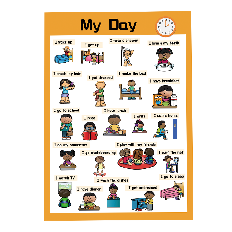 My Day English Poster Everyday Phrase Phrase Classroom Decoration Toys for Children English Language Learning Toys FlashCards