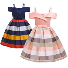 2020 Summer New Children Wear Suspender Colorblock Striped Princess Skirt Girl Elegant Children Off-The-Shoulder Dress Skirt