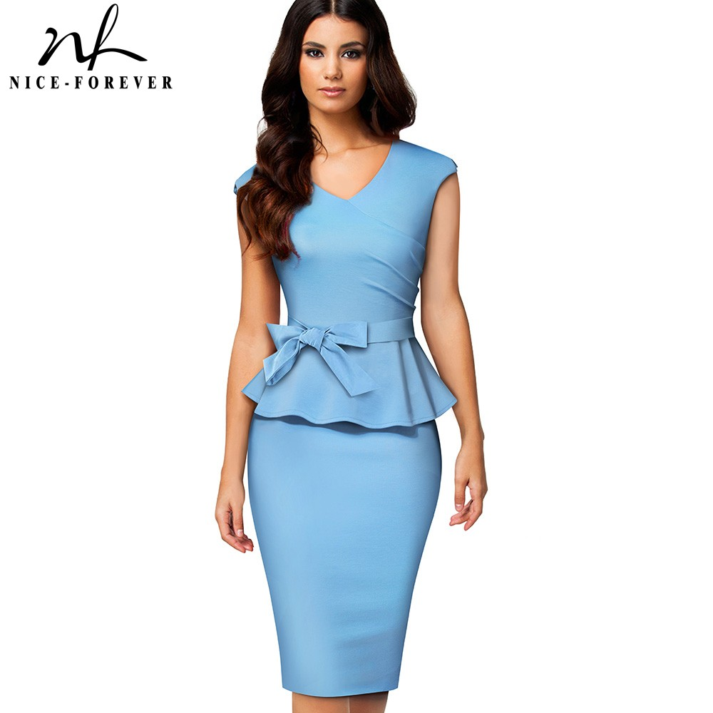Nice-forever Vintage Pure Color Office Work Peplum Vestidos With Sash Business Party Bodycon Women Dress B585