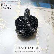 Colgante serpiente de corazón negro, 2019 joyería Vintage de moda de marca Plata de Ley 925 accesorios de bisutería Europea regalo para mujer