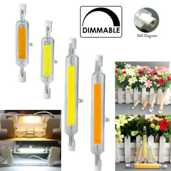 Dimmable R7s LED Light Bulb 78mm 118mm COB Ceramic Glass Tube Light Replace 60W 120W 150W 200W Halogen Lamps image