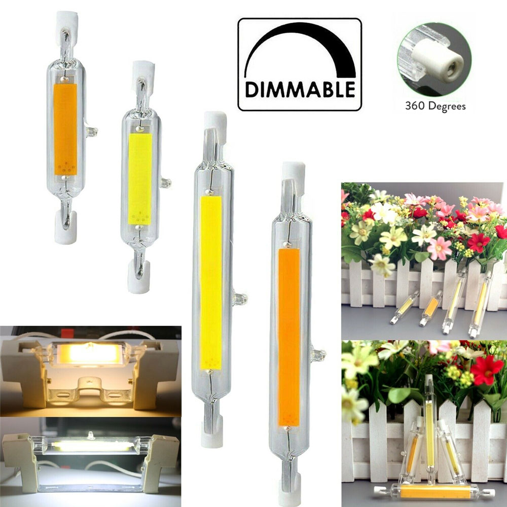Dimmable <font><b>R7s</b></font> <font><b>LED</b></font> Light Bulb 78mm 118mm COB Ceramic Glass Tube Light Replace 60W 120W 150W 200W Halogen Lamps image