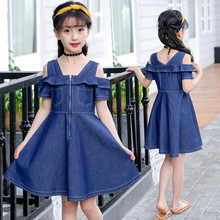 Children Dresses For Girls Fashion Denim Dress Girls Summer Strapless Dress Child Denim Girls Clothes 4 5 6 7 8 9 10 11 12 Years
