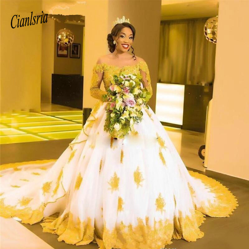 African Black Girls White With Gold Lace Appliques Wedding Dresses 2019 Scoop Neckline Long Sleeves Beaded Modest Bridal Gowns