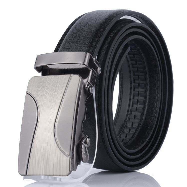 High Quality Men's Automatic Buckle Belt Young People Metal Geometric Pattern Simple Buckle Luxury Business Belt Ceinture Homme