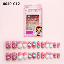 Cute 24Pcs/Set Press on Children Candy False Nail Tips Cartoon Full Cover Kid Pink Fake Nail Art for Little Girls Manicure Tool