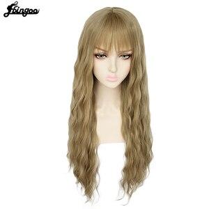 Image 5 - Ebingooロングブロンドピンクブルーブラックホワイト合成女性のためのきちんとした前髪高温繊維