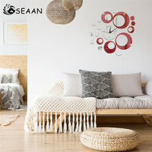 SEEAN Modern Background Mirror Environmental Protection Wall Decoration Wallpaper Sticker Creative Romantic DIY Room Decor