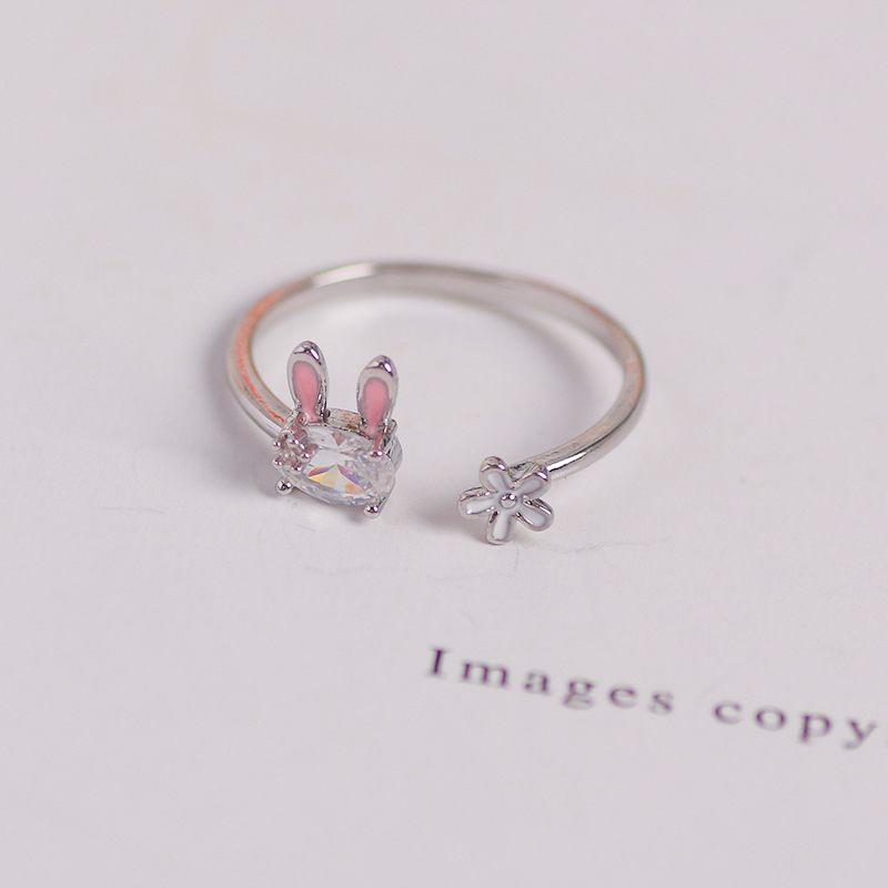 Hot Selling Fashion Jewellery Ladies Ring Cute Rabbit Animal Ring Opening Adjustable Metal Ring 2021 New Female Jewelry Gift 3