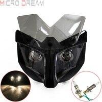 12 v 35 w streetfighter motocicleta carenagem máscara do farol com suporte de 35 54mm frente farol para bicicletas de sujeira bicicletas nuas motocross -
