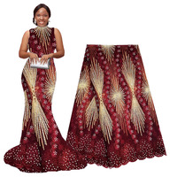 Wine Red African Lace Fabric 2019 Embroidered Nigerian Laces Fabric Bridal High Quality French Tulle Lace Fabric For Women Dress