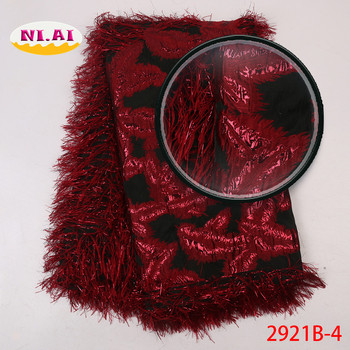 Red Dentelle Tissu Fabric For Dresses, Brocade Lace With Feather, Embroidered Jacquard Lace MR2921B