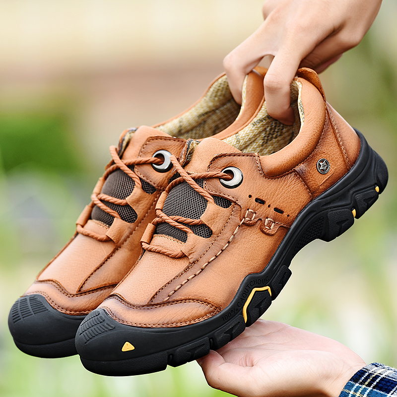 Men's Hiking Shoes Tactical Boots Genuine Leather Men Sport Outdoor Shoes Breathable Sneaker Mountain Hiking Shoes Hunting Boots|Hiking Shoes| |  - title=